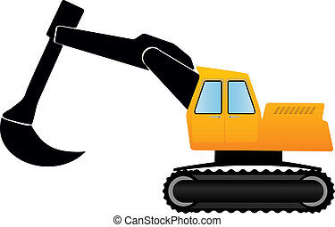 vector illustration yellow eskavator