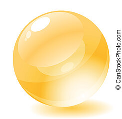 Vector illustration. Yellow glossy circle web button.