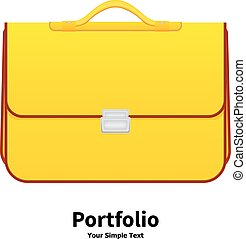 Vector illustration yellow school bag on an isolated white...