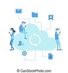 Vector illustration, young people using mobile gadgets for texting, communication and sharing files