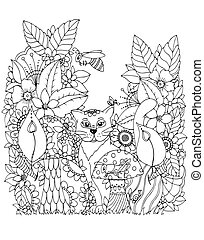 Vector illustration Zen tangd, cat sitting in the flowers. Doodle drawing mushrooms. Coloring book anti stress for adults. Black white.