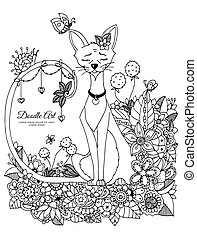 Vector illustration Zen tangl, cat sitting in the flowers. Doodle drawing mushrooms. Coloring book anti stress for adults. Black white.