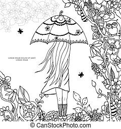Vector illustration Zen Tangle, a girl with an umbrella in the park. Doodle drawing. Coloring book anti stress for adults. Black white.