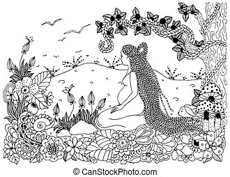 Vector illustration Zen Tangle, a pregnant woman sitting in flowers. Doodle drawing. Coloring book anti stress for adults. Black and white.