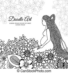 Vector illustration Zen Tangle, a pregnant woman sitting in flowers. Doodle drawing. Coloring book anti stress for adults. Black white.