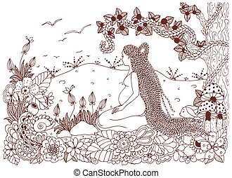 Vector illustration Zen Tangle, a pregnant woman sitting in flowers. Doodle drawing. Coloring book anti stress for adults. Brown and white.