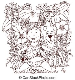 Vector illustration Zen Tangle baby little girl with a dog in the flowers. Doodle drawing. Coloring book anti stress for adults. Brown and white.
