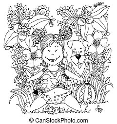 Vector illustration Zen Tangle baby little girl with a dog in the flowers. Doodle drawing. Coloring book anti stress for adults. Black white.
