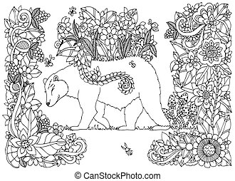 Vector illustration Zen Tangle bear with flowers. Doodle...