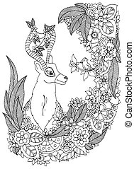 Vector illustration Zen Tangle deer in a flower frame. Doodle drawing. Coloring book anti stress for adults. Black white.