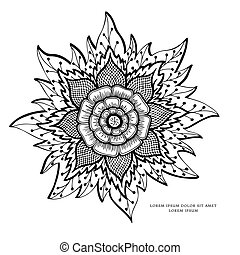 Vector illustration Zen Tangle, flower mandala. Doodle drawing. Coloring book anti stress for adults. Black white.