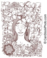Vector illustration Zen Tangle girl and cherry. Doodle flowers frame. Coloring book anti stress for adults. Brown and white.