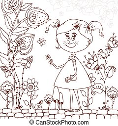 Vector illustration Zen Tangle girl in a floral Doodle flowers, tree. Coloring book antis stress for adults. Brown white.