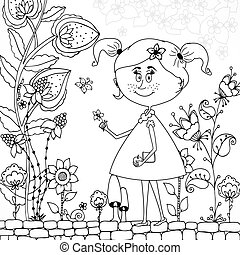 Vector illustration Zen Tangle girl in a floral Doodle flowers, tree. Coloring book antis stress for adults. Black white.