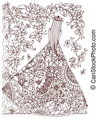 Vector illustration Zen Tangle girl in a floral dress. Doodle flowers, tree. Coloring book antis stress for adults. Brown white.