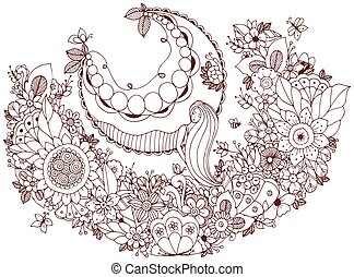 Vector illustration Zen Tangle girl on a swing in the flowers. Coloring book anti stress for adults. Coloring page.