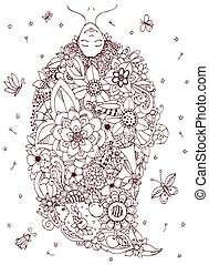 Vector illustration Zen Tangle girl upside down with flowers in her head. Doodle drawing. Coloring book anti stress for adults. Brown and white.