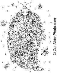 Vector illustration Zen Tangle girl upside down with flowers in her head. Doodle drawing. Coloring book anti stress for adults. Black white.