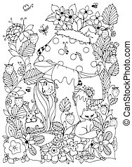 Vector illustration Zen Tangle girl with freckles hid behind a mushroom. Doodle flowers, forest animals. Coloring book anti stress for adults. Coloring Page. Black white.