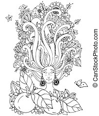 Vector illustration Zen Tangle girl with freckles sleeps. Doodle flowers in her hair, butterfly. Coloring book anti stress for adults. Black white.