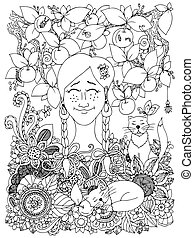 Vector illustration Zen Tangle girl with pigtails and apples. Doodle flowers frame. Coloring book anti stress for adults. Black and white.