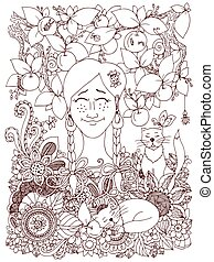 Vector illustration Zen Tangle girl with pigtails and apples. Doodle flowers frame. Coloring book anti stress for adults. Brown and white.
