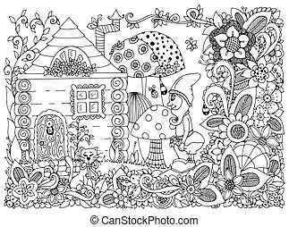 Vector illustration Zen Tangle gnome and a house. Doodle flowers, cat, garden. Coloring book anti stress for adults. Black and white.