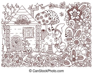 Vector illustration Zen Tangle gnome and a house. Doodle flowers, cat, garden. Coloring book anti stress for adults. Brown and white.