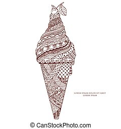 Vector illustration Zen Tangle, ice cream with ornament. Doodle drawing. Coloring book anti stress for adults. Brown and white.