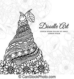 Vector illustration Zen Tangle, ice cream with ornament. Doodle drawing. Coloring book anti stress for adults. Black white.