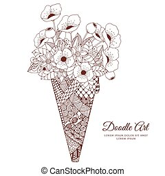 Vector illustration Zen Tangle, ice cream with poppies. Doodle drawing. Coloring book anti stress for adults. Brown and white.