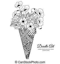 Vector illustration Zen Tangle, ice cream with poppies. Doodle drawing. Coloring book anti stress for adults. Black white.