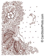Vector illustration Zen Tangle, little girl sitting on a flower and looking at the stars. Doodle drawing. Coloring anti stress for adults. Brown and white.