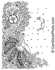Vector illustration Zen Tangle, little girl sitting on a flower and looking at the stars. Doodle drawing. Coloring anti stress for adults. Black  white.
