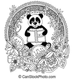 Vector illustration Zen Tangle panda with a book Floral circle frame. Doodle flower. Coloring book anti stress for adults. Black white.