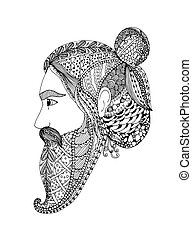 Vector illustration Zen Tangle portrait of a man with an ornament. Doodle floral frame. Coloring book anti stress for adults. Black white. Isolated object.