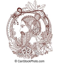 Vector illustration Zen Tangle portrait of a man with an ornament. Doodle floral frame. Coloring book anti stress for adults. Brown and white.