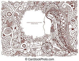 Vector illustration Zen Tangle portrait of a woman in a flower frame. Doodle. Coloring book anti stress for adults. Brown white.