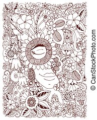 Vector illustration Zen Tangle portrait of a woman in a flower frame. Doodle flowers, forest, garden. Coloring book anti stress for adults. Coloring page. Brown white.