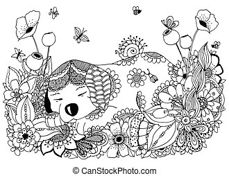 Vector illustration Zen Tangle, puppy sleeps in flowers....