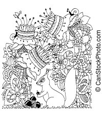 Vector illustration Zen Tangle, squirrel with acorn sitting in flowers. Doodle drawing. Coloring book anti stress for adults. Black white.