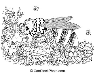 Vector illustration Zen Tangle, wasp and flowers. Doodle...