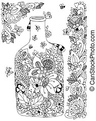 Vector illustration Zen Tangle with flowers bottle. Doodle flowers frame. Coloring book anti stress for adults. Black white.