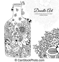 Vector illustration Zen Tangle with flowers bottle. Doodle frame. Coloring book anti stress for adults. Black white.