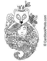 Vector illustration zentangl bear and the girl in flowers...