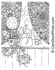 Vector illustration zentangl cat and curtains. Flower frame. Doodle drawing. Meditative exercises. Coloring book anti stress for adults. Black white.