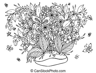 Vector illustration zentangl coffee beans with flowers. Coffee, doodle art, butterfly, garden, nature. Coloring book anti stress for adults. Black and white