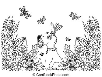 Vector illustration zentangl dog in flowers. Doodle floral drawing. A meditative exercises. Coloring book anti stress for adults. Black white.