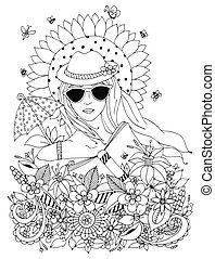 Vector illustration zentangl, doodle portrait of woman,  girl in a floral hat box. Summer, sunglasses, umbrella, sun, sunflower. Coloring book anti stress for adults. Black white.