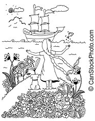 Vector illustration zentangl, girl and dog meet the ship. Doodle drawing. Coloring book anti stress for adults. Black white.
